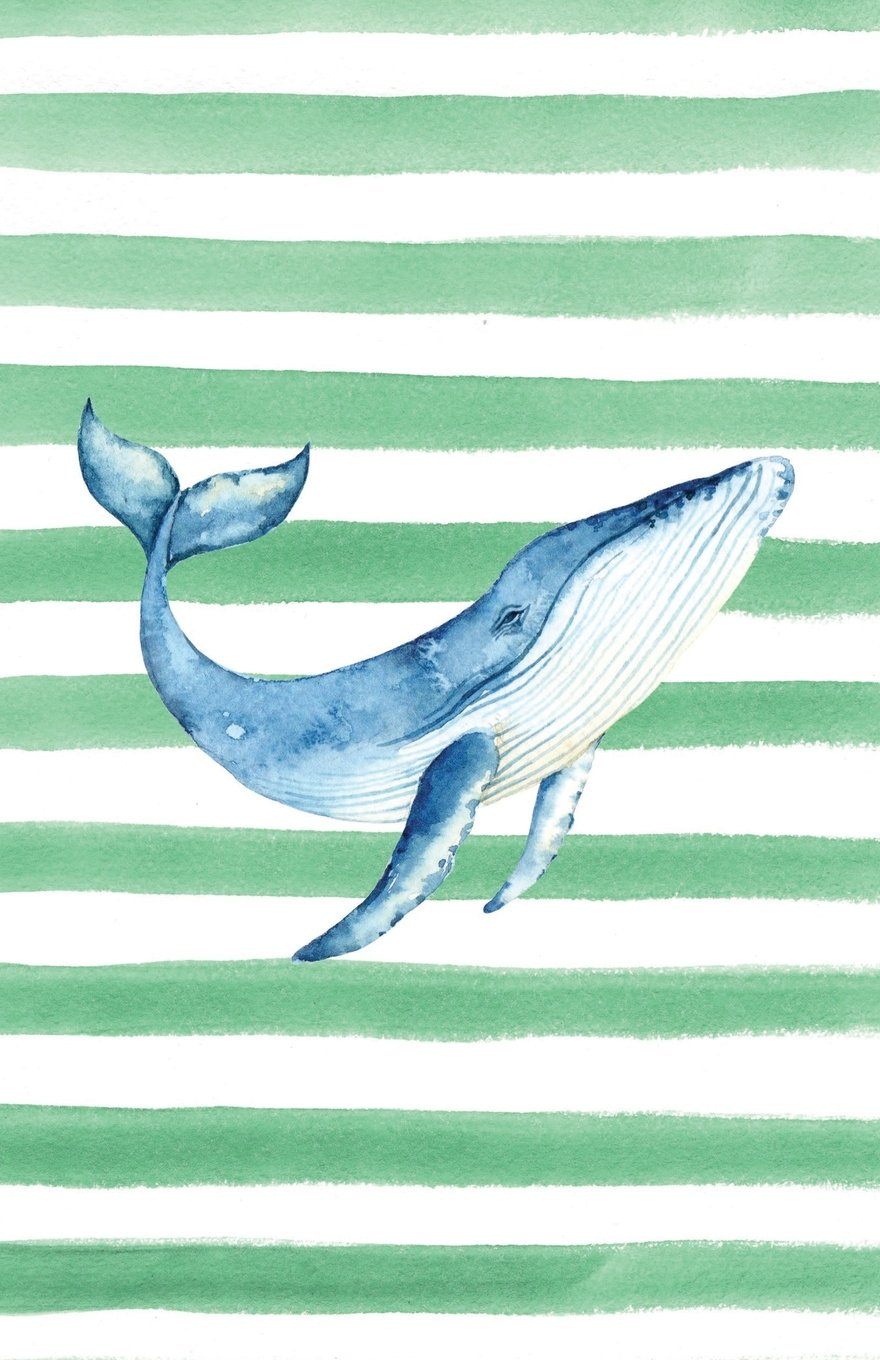 Download Blue Whale Watercolor Stripe Journal, Graph Paper: Blank Quad Grid Notebook with Graph Paper (Coastal Beaches & Oceans Series) ebook