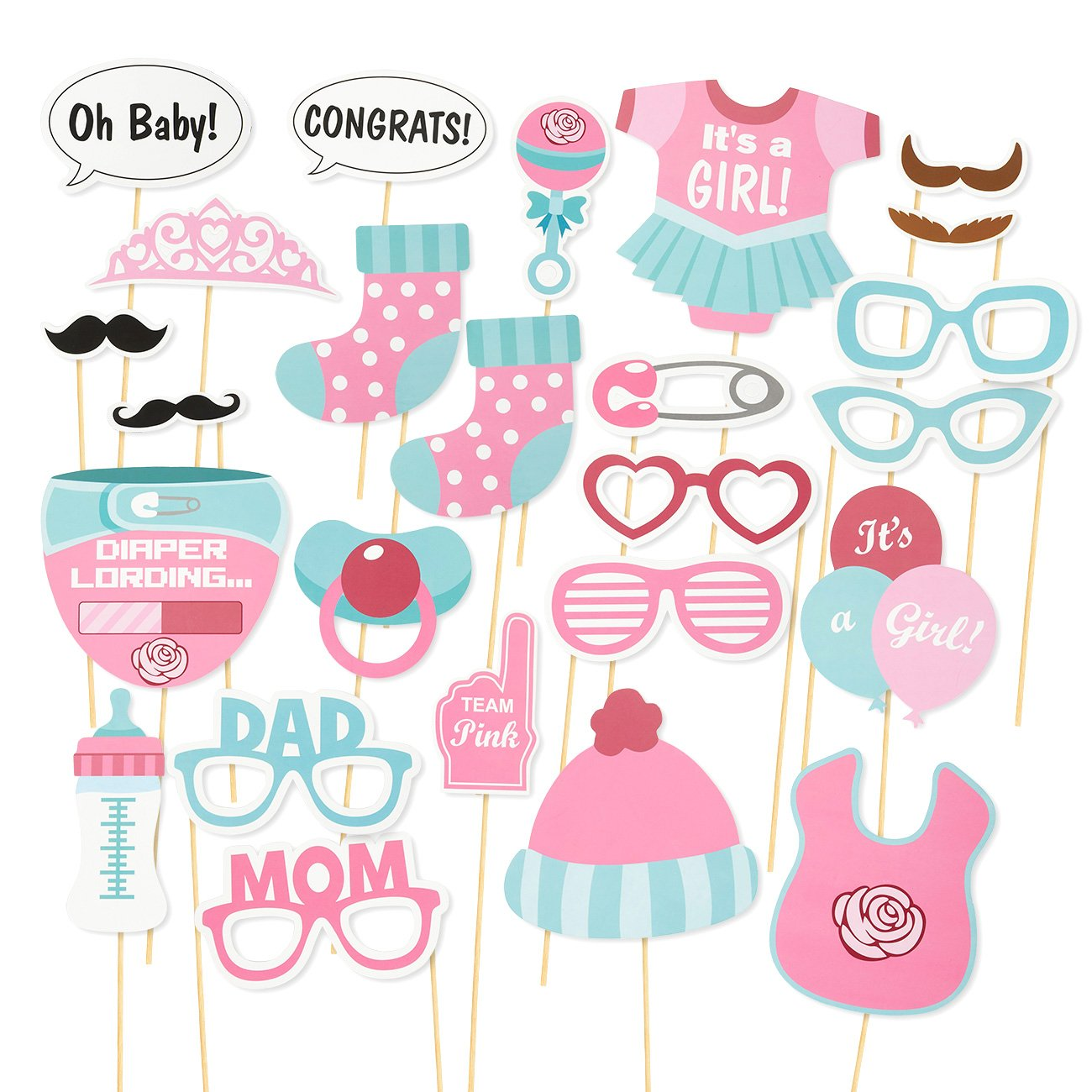 Amazoncom Baby Shower Photo Booth Props 25 Pack Gender Reveal