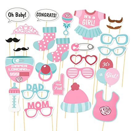 8f65c91c9ed3 Amazon.com  Baby Shower Photo Booth Props – 25-Pack Gender Reveal ...