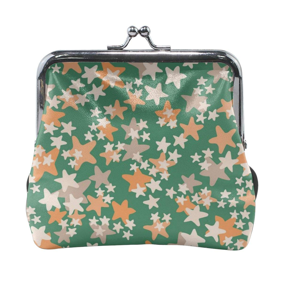 Poream White Orange Beige Stars Green Background Personalized Retro Leather Cute Classic Coin Purse Clutch Pouch Wallet For Womens