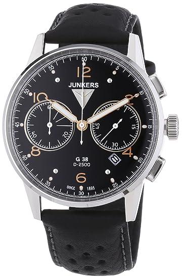 Junkers G 38 - Reloj de cuarzo para hombre, correa de cuero color negro: Amazon.es: Relojes
