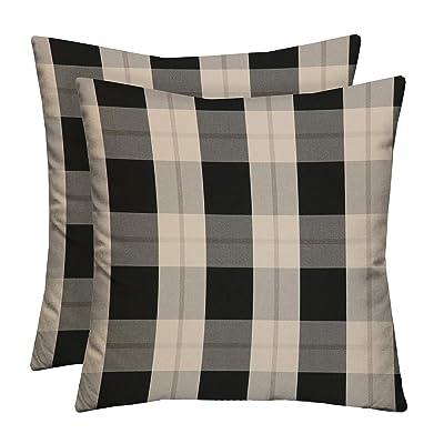 "RSH Décor Indoor Outdoor Grey Brown Tan Prints - 2 Square Pillows Weather Resistant - Choose Color & Size (Branson Pewter Black Grey Beige Farmhouse Buffalo Plaid, 17""x17""): Home & Kitchen"