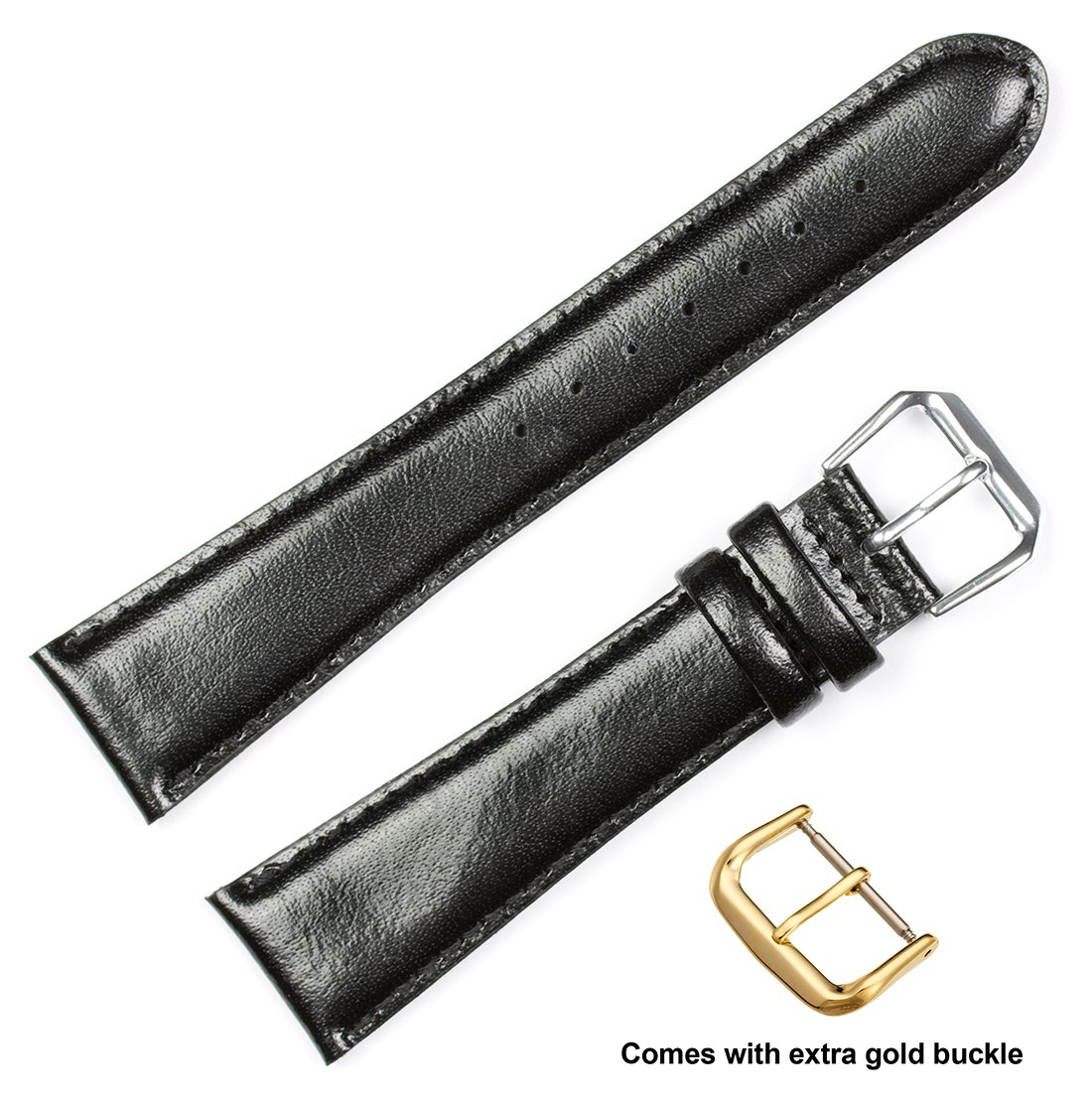 deBeer brand Smooth Leather Watch Band (Silver & Gold Buckle) - Black 19mm (Short Length)