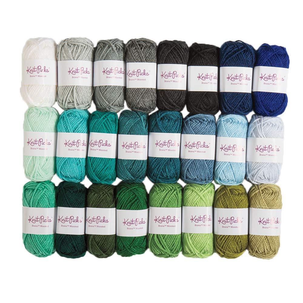 Knit Picks Brava Mini Pack Worsted Premium Acrylic Yarn - 24 Pack (25g Minis, Blues)