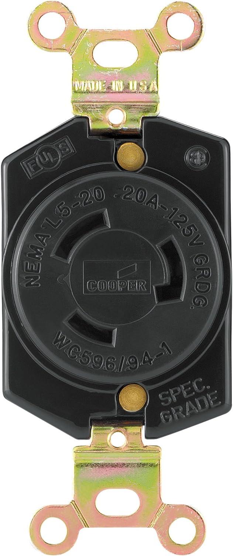 Arrow Hart Cooper 6200 Locking Receptacle 20 Amp NEMA L5-20R