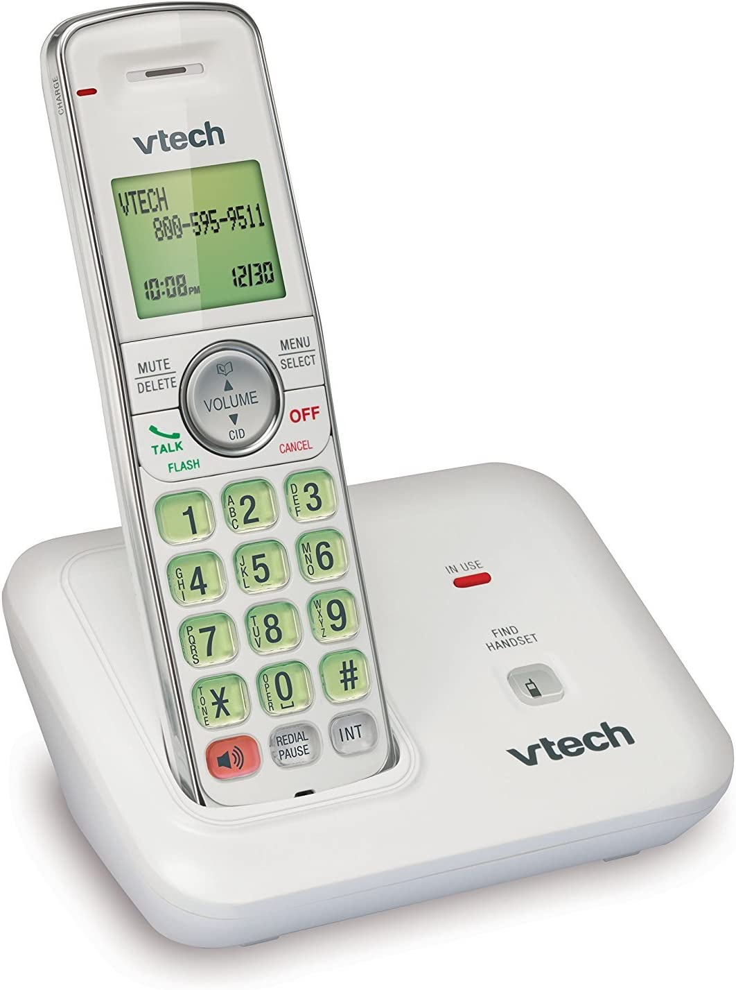 Vtech CS6419 – 17 DECT 6.0 Expandable teléfono inalámbrico con identificador de llamadas y auricular manos libres, 1 terminal, color blanco: Amazon.es: Electrónica