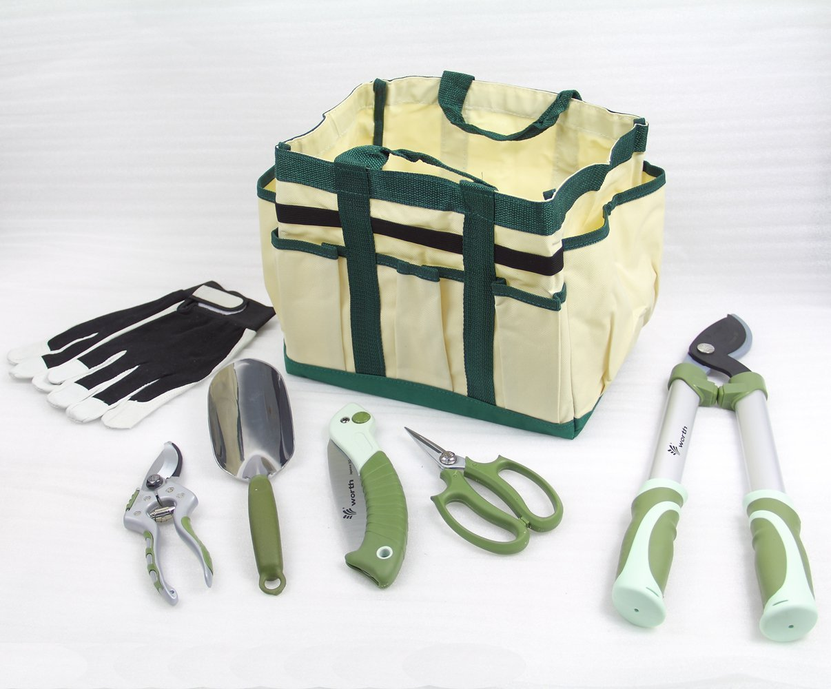 Worth 7 Pieces Ergonomic Garden Tool Set Plant Care Hand Tools Combination (Bag、trowel、lopper、pruner、scissors、folding saw、glove)