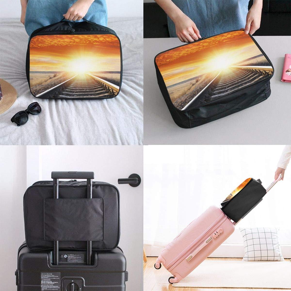 Travel Luggage Duffle Bag Lightweight Portable Handbag Train Tracks Large Capacity Waterproof Foldable Storage Tote