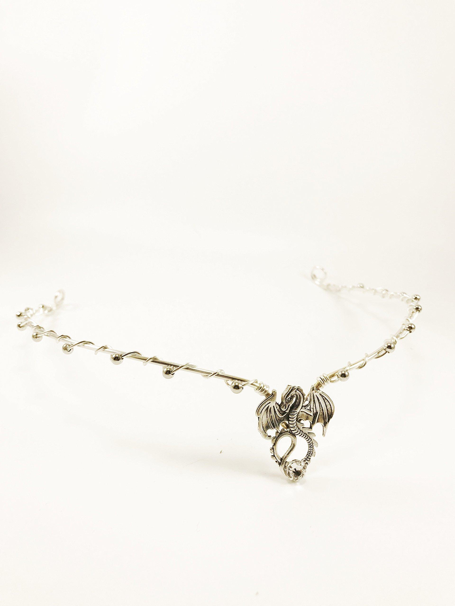 Silver CIRCLET Renaissance Dragon Circlet, Dragon Crown, Fairy Princess Crown, Woodland Fairy Dragon Queen Crown