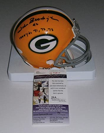 a91c5314a John Brockington Autographed Mini Helmet - w 3X 1000 yds COA - JSA  Certified - Autographed