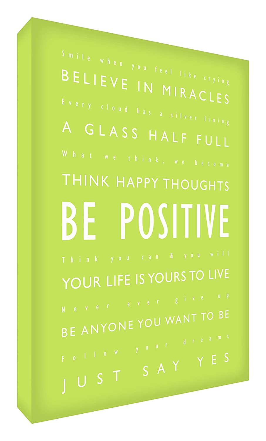 Feel Good Art Gallery Wrapped Box Canvas in Modern Typographic Design (30 x 20 x 4 cm, Lime, Be Positive) NBES-BP128-02
