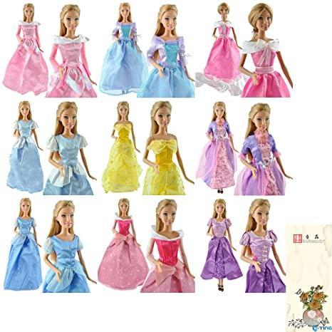 E Ting 5 Piezas Hecho A Mano Vestido Boda Vestido Ropa Para Muñecas Barbie Princesas Disney
