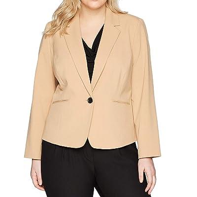 NINE WEST Women's Plus Size Bi Stretch 1 Button Notch Lapel Jacket, Biscotti, 18W at Women's Clothing store