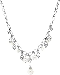 product image for 1928 Jewelry Silver Tone Crystal Costume Pearl Drop Necklace 16 Inch Adjustable