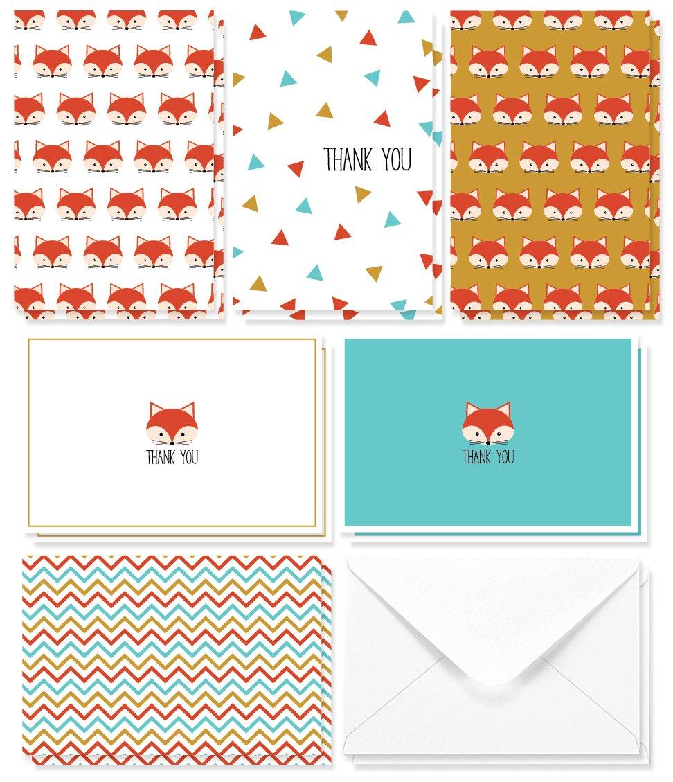 Best Paper Greetings Thank You Cards – Biglietti di auguri – 6 unico carino Fox design – Confezione bulk set – interno bianco – include 48 biglietti e buste – 10,2 x 15,2 cm