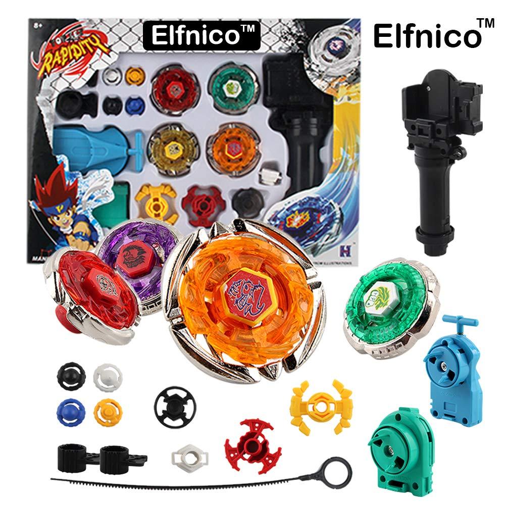 Elfnico Battling Tops Metal Fusion Starter Set with 4D Launcher Grip Burst Battle Set by Elfnico (Image #1)