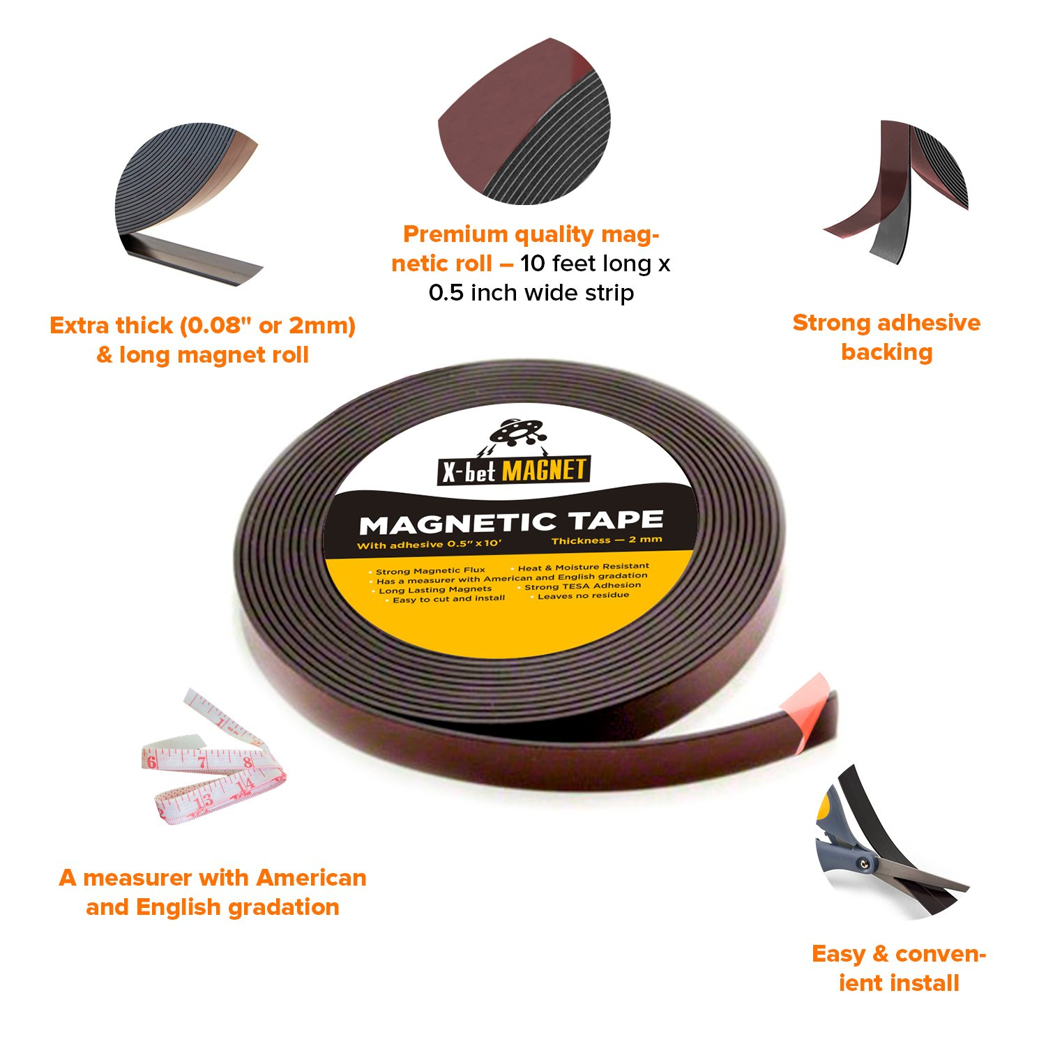Flexible Magnetic Strip - 1/2 Inch x 10 Feet Magnetic Tape with Strong Self Adhesive - Perfect Magnetic Roll for Craft and DIY Projects - Sticky Anisotropic Magnets by X-bet MAGNET (Image #3)