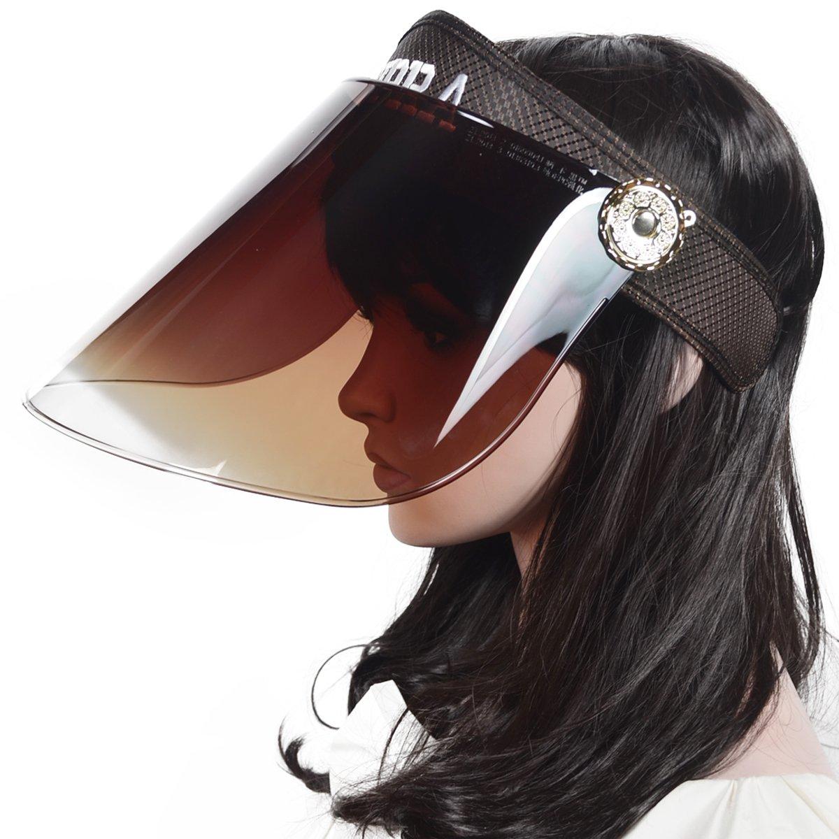 JESSE · RENA Women Solar Face Shield Cap Visor Sun Cover Anti-UV Cap Sunhat CF-16UV-Black