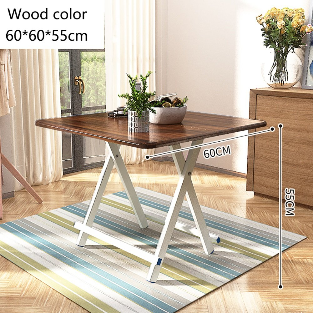 Wood color 70x70x65cm Folding Tea Coffee Table Computer Workbench Aluminum Legs and Non-Slip Mat Wooden Leisure Folding Table Camping Small Square == (color   Black, Size   60x60x55cm)