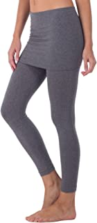 product image for Kurve Women's Seamless Skirt Leggings – Casual Soft Stretch Solid Skirted Tights Pants Sports Workout Yoga (Made in USA)