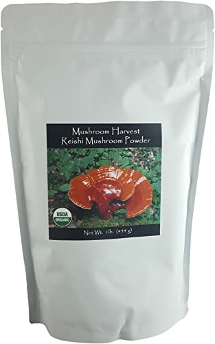 Reishi Full Spectrum Mushroom Powder by Mushroom Harvest Certified Organic 1 lb. Grown in USA Highest Level of Purity and Potency