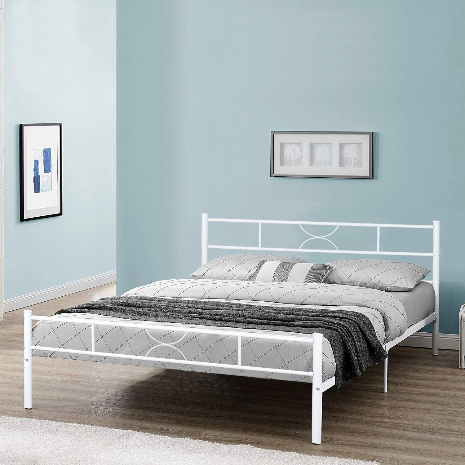 GreenForest Queen Size Bed Frame Metal Bed Platform with Headboard Stable Metal Slats Mattress Foundation No Box Spring Needed, White