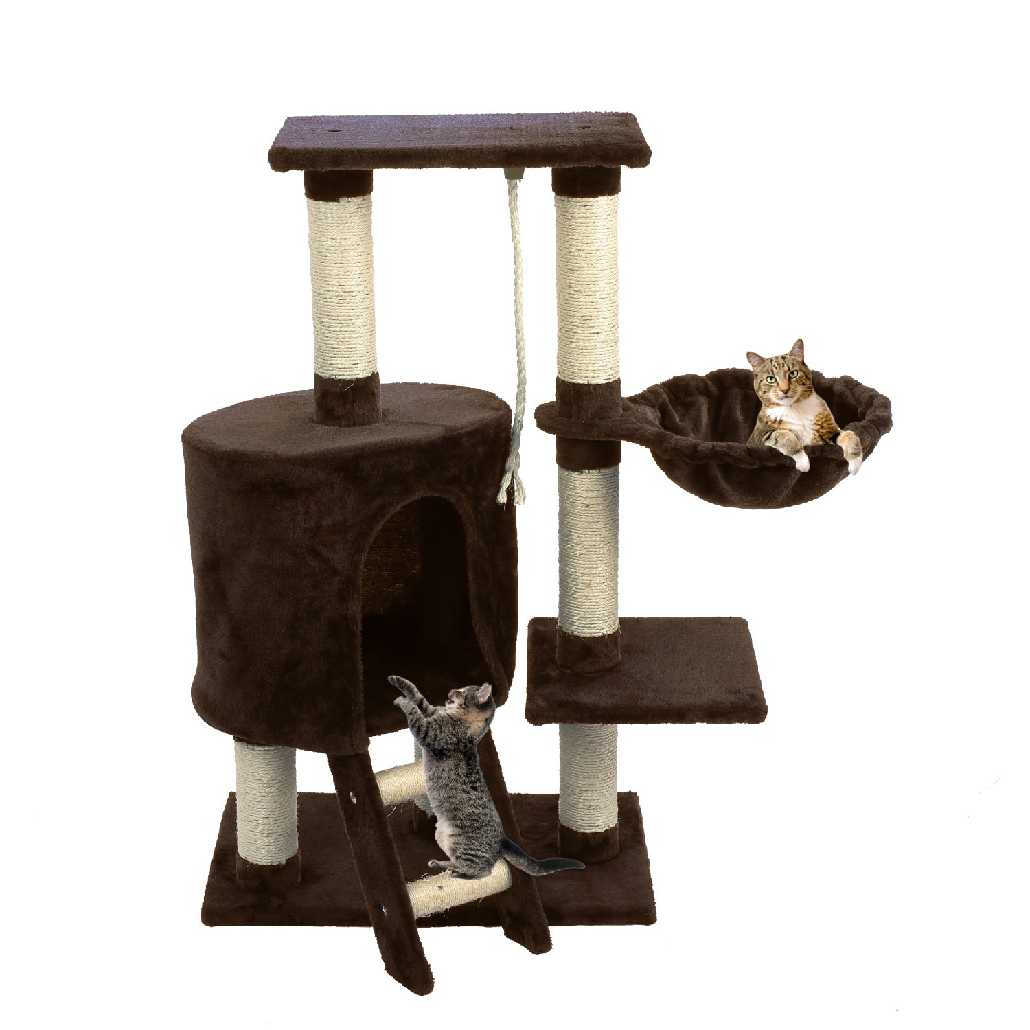 Cat Tree With House Condo Tower Pet Scratching Posts Unique Kitten Perch Furniture Natural Sisal Kitty Climbing Toys Activity Tree With Playhouse In The Corner Window Perches, 38 inches, Brown