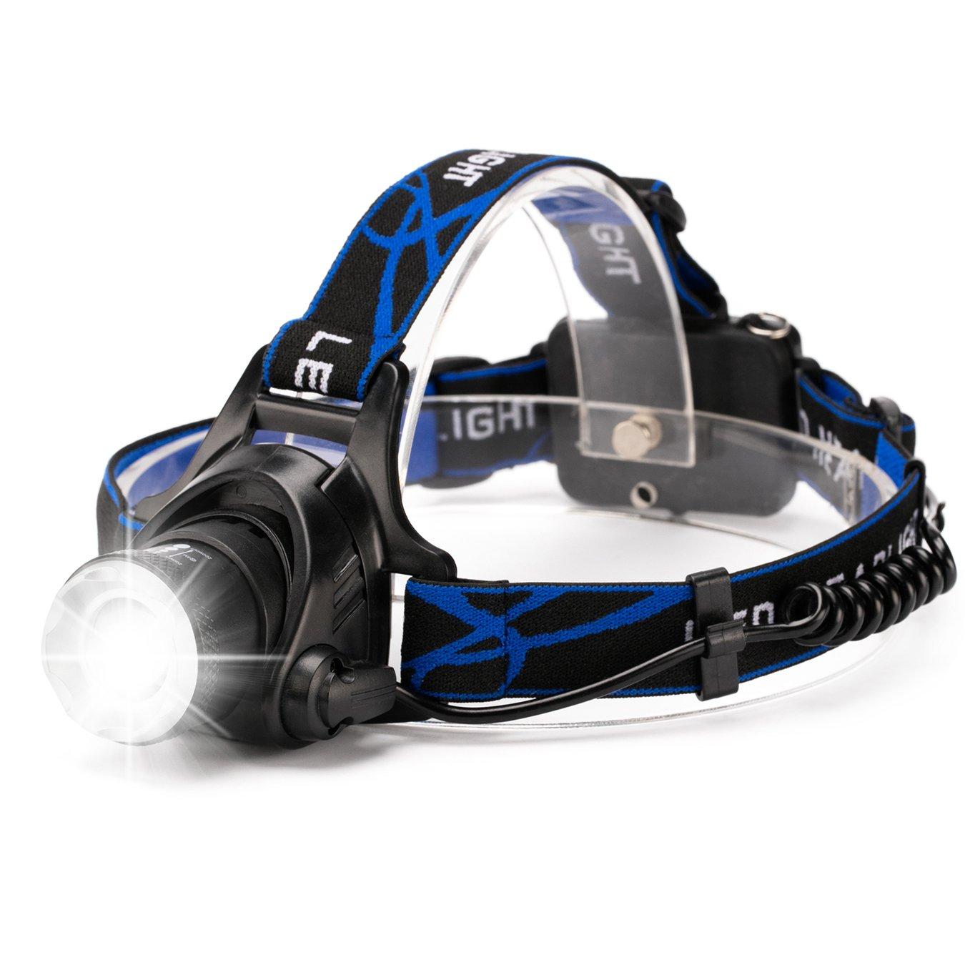 Zoombaren Scheinwerfer Kopflampe, hfan 1800 Lumen Freisprecheinrichtung Flutlicht Spot Licht fü r Camping Running Lesen, Kopf Lampe mit 3 Leuchtmodi