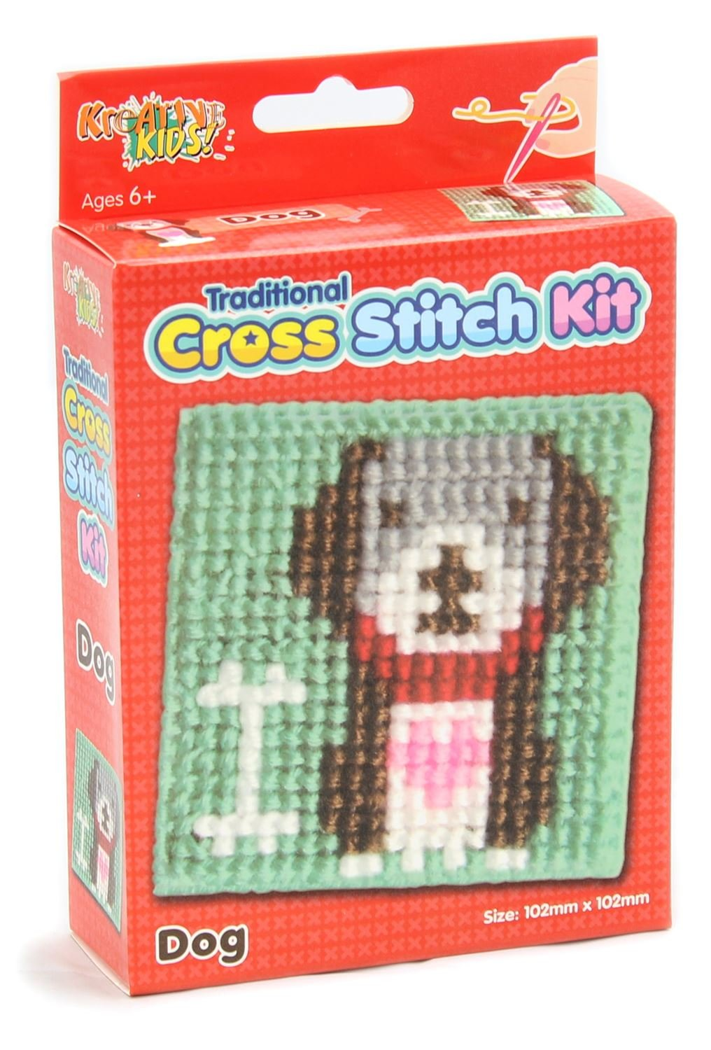Kreative Kids Traditional Cross Stitch Kit For Children Tapestry Sewing Craft Set ~ Dog Kandytoys