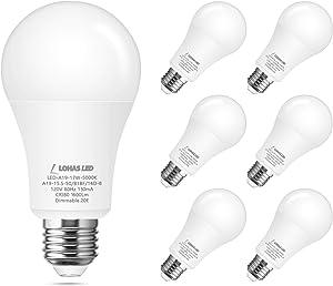 LOHAS A19 LED Light Bulb Dimmable 150W Equivalent, LED 17Watt(UL Listed) Daylight White 5000K, 1600Lumen High Brightness Bulb, E26 Medium Base LED Light for Home Lighting, Indoor/Outdoor, 6 Pack