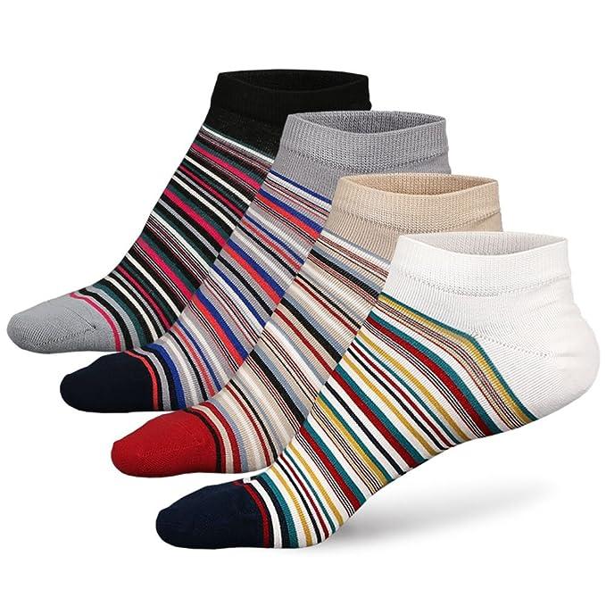 ZAKASA Calcetines de tobillo para hombre no lucidos de algodón Trazador de líneas rico para correr calcetines de rayas de corte bajo invisible EU 39-44: ...