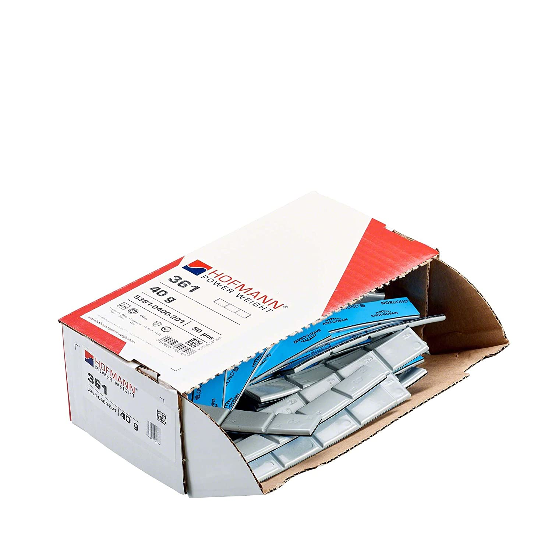 Pesi adesivi Hofmann Power Weight Tipo361 5361-0400-201 argento 40g 50x Pesi autoadesivi per equilibratura pneumatici