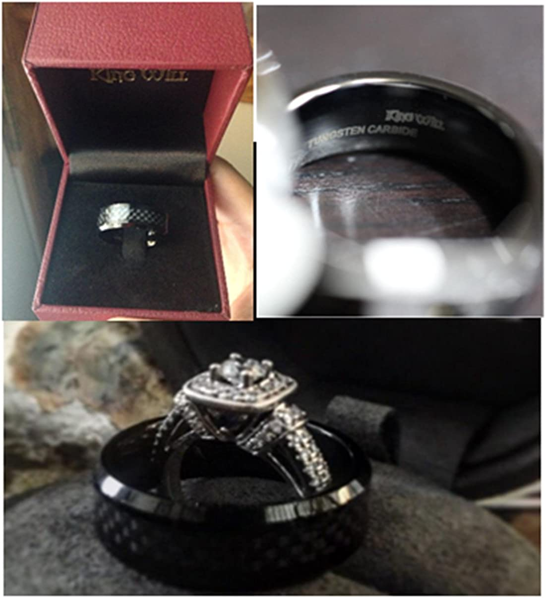 King Will GENTLEMENT 8mm Black Carbon Fiber Inlay Tungsten Carbide Ring Polished Finish Edges Comfort Fit