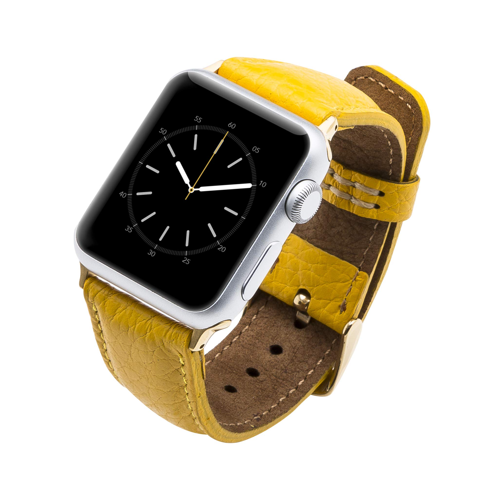 Venito Tuscany Handmade Premium Leather Watch Band Strap Compatible with The Newest Apple Watch iwatch Series 5 as Well as Series 1,2,3, 4 (Yellow w/Gold Stainless Steel Hardware, 38-40mm) by Venito