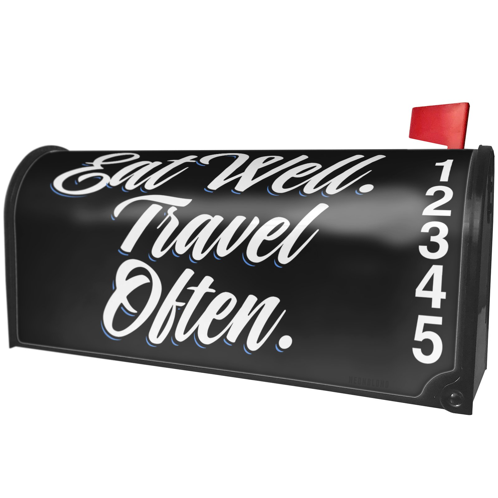 NEONBLOND Classic design Eat Well. Travel Often. Magnetic Mailbox Cover Custom Numbers