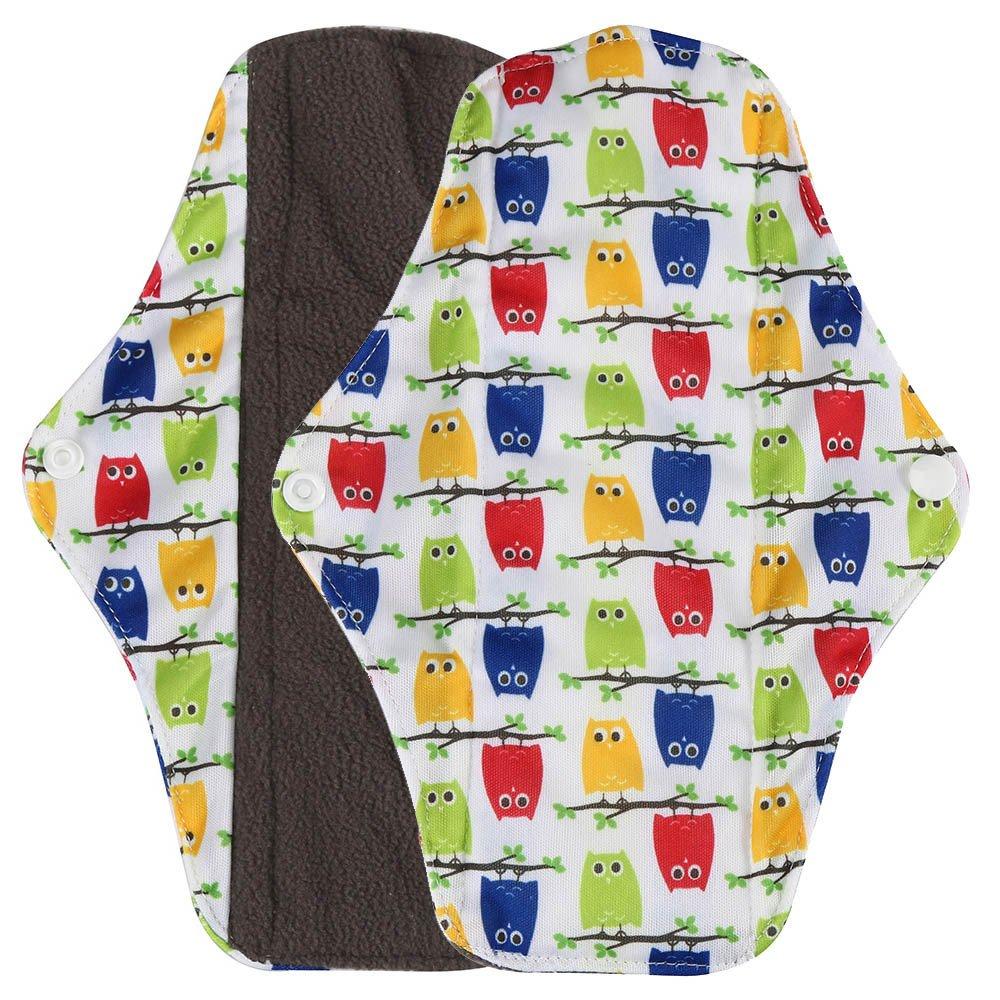 Hunputa Sanitary Napkins,Reusable Bamboo Cloth Washable Menstrual Pad Mama Sanitary Towel Pad (Yellow, L)