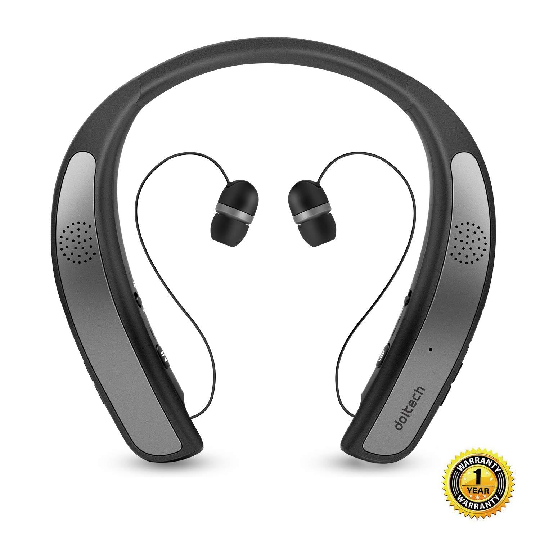 623de42d3a2 Bluetooth Headphones Speaker 2 in 1,DolTech Wireless Headphones Neckband  Wearable Speaker Retractable Earbuds 3D Stereo Sound Sweatproof Headset  with Mic