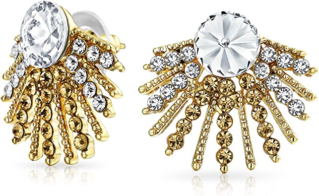 Amazon Com Geometric Milgrain Beaded Round White Crystal Fashion Art Deco Style Fan Stud Earrings For Women 14k Gold Plated Alloy Jewelry