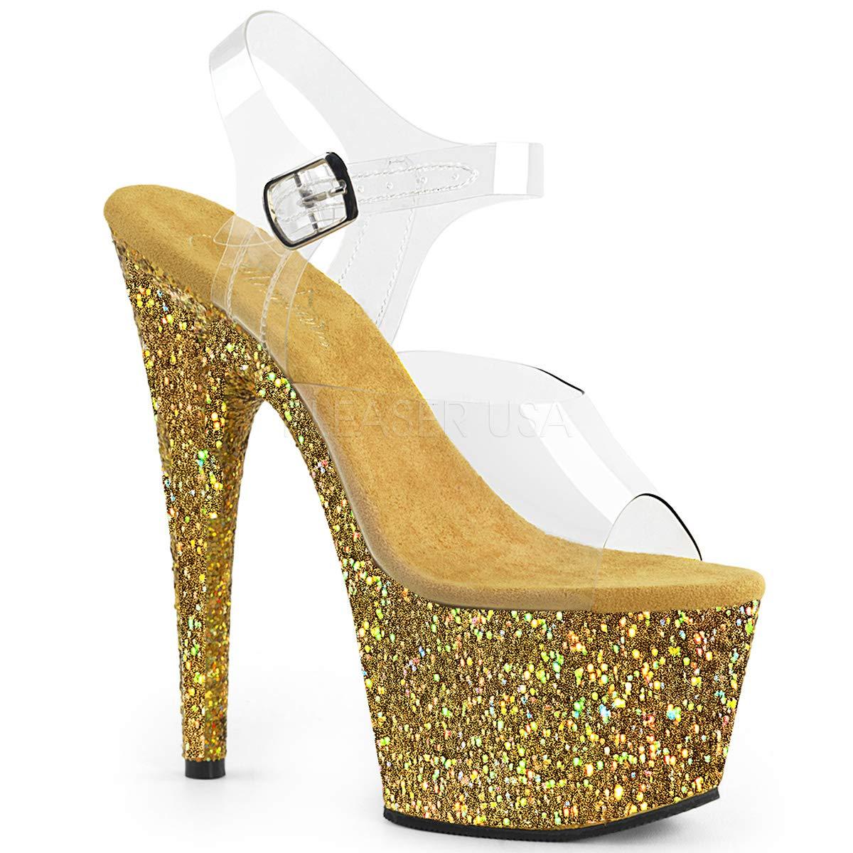 Women's Adore Clear Open Toe Top Gold Glitter Platform Sandals - DeluxeAdultCostumes.com
