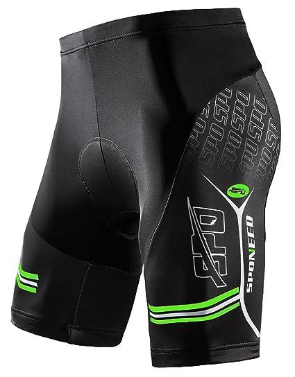 29796b4c871fc sponeed Men's Chamois Bike Shorts Bicycling Bottoms Bicycle Pants Short  Sleeve Bottoms Tights US S Green