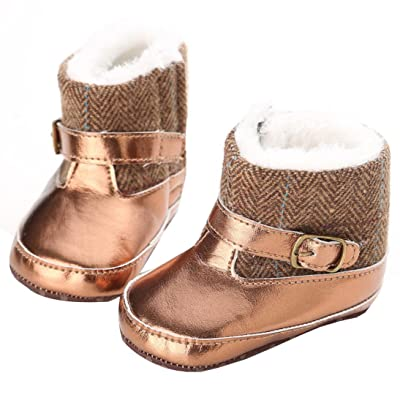 Amiley Toddler Infant Baby Girl Gold Snow Boots Soft Sole Prewalker Crib Shoes