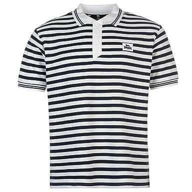 Lonsdale Hombre Yarn Dye Stripe Camisa Polo Manga Corta Blanco ...