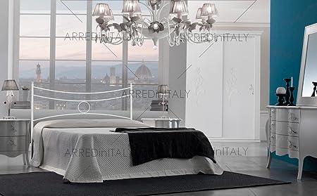Testate Letto Ferro Battuto Toscana.Letto Matrimoniale In Ferro Colore Bianco Con Giroletto