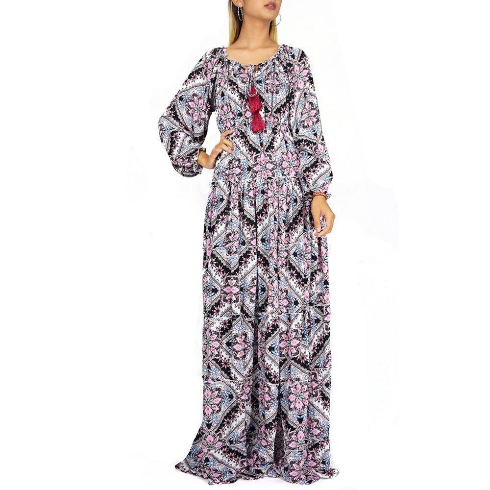 fbc8e785c9 Women's Bohemian Floral Print Summer Maxi Dress - Full Length Maxi ...