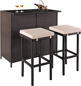 SOLAURA 3-Piece Patio Bar Set Brown Wicker Patio Furniture Set Outdoor Rattan Chairs with Glass Table and Large-CapacitySpace for Backyards, Gardens or Poolside