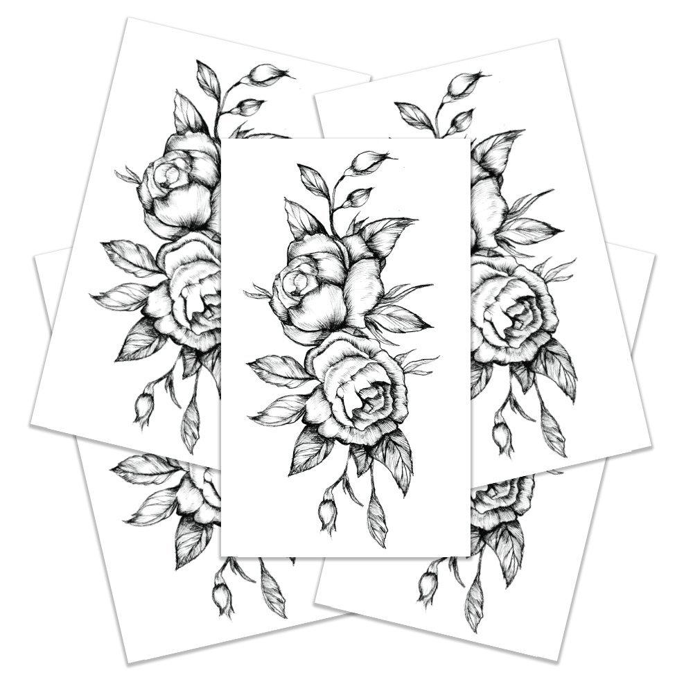 c3a3a34a0 Amazon.com : Temporary Tattoos For Women - Black Rose Tattoo -  Semi-Permanent Tattoo Gift - Set of 5 Temporary Tattoos, 3