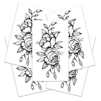 Amazoncom Temporary Tattoos For Women Black Rose Tattoo Semi