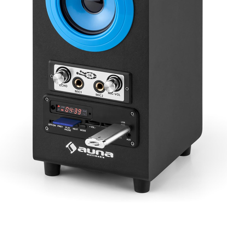 auna DiscoStar Blue /• 2.1 altoparlanti Bluetooth /• Luce LED /• Radio FM /• 30 memoria /• MP3 /• SD /• Mini USB /• AUX /• Microfono /• Controllo volume /• Telecomando /• Maniglie /• Batteria /• Porta