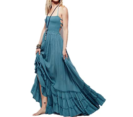 Boho Chic Halter Chiffon Long Dress Women Backless Maxi Dresses Sexy Beach Summer Dress Beach Wear