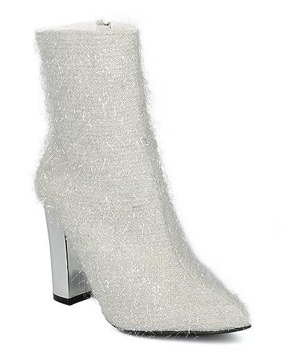 Women Fuzzy Tinsel Pointy Toe Metallic Block Heel Bootie - HF51 by Cape Robbin
